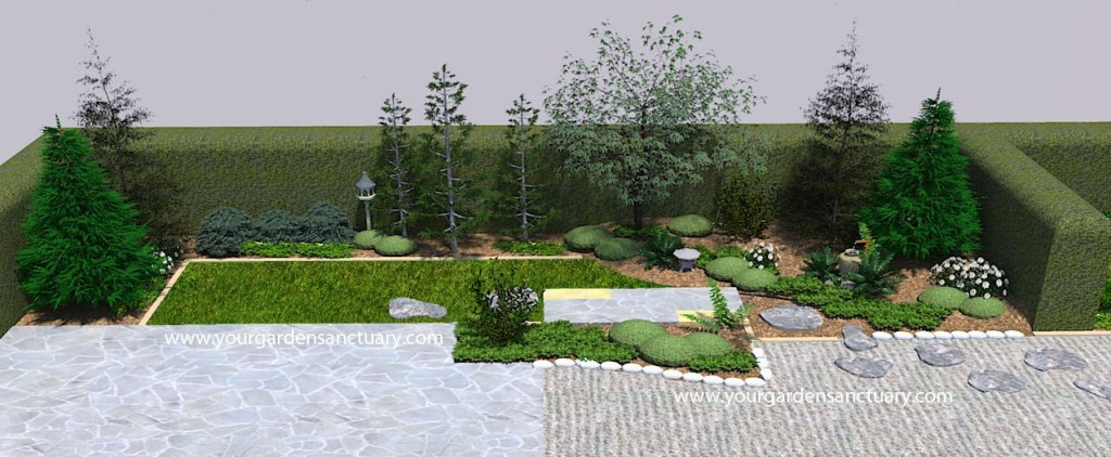 Japanese garden design rendered in Sketchup and Shaderlight